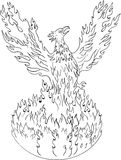 Phoenix Rising Fiery Flames Black and White Drawing. Drawing sketch style illustration of a phoenix rising up from fiery flames, wings raised for flight done in Stock Image