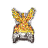 Phoenix Rising Over Burning Game Controller Tattoo. Tattoo style illustration of a phoenix with wings raised for flight rising over burning game controller set Royalty Free Stock Images