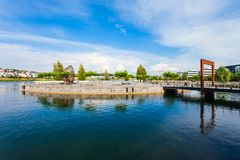 Phoenix See lake in Dortmund. Phoenix See lake is an artificial lake on the former steelworks Phoenix East in Dortmund district Horde stock image