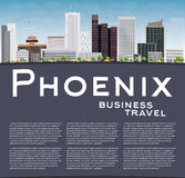 Phoenix Skyline with Grey Buildings, Blue Sky and copy space Stock Photography