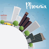Phoenix Skyline with Grey Buildings, Blue Sky and copy space Royalty Free Stock Photos