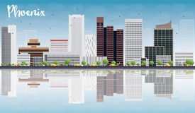 Phoenix Skyline with Grey Buildings, Blue Sky and reflections Stock Image