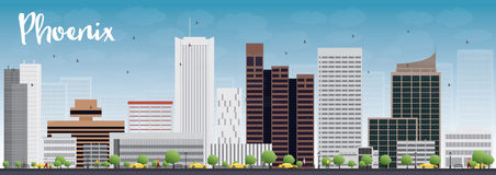 Phoenix Skyline with Grey Buildings and Blue Sky Stock Photography