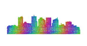Phoenix skyline silhouette - multicolor line art Royalty Free Stock Photos