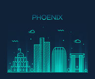 Phoenix skyline trendy vector illustration linear Stock Image