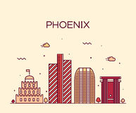 Phoenix skyline trendy vector illustration linear Royalty Free Stock Photography