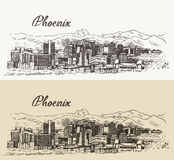 Phoenix skyline vector illustration hand drawn Royalty Free Stock Image