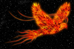 Phoenix in space art background Royalty Free Stock Images