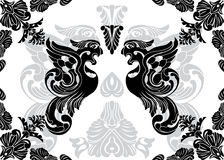 Phoenix stencil and decorative framework Royalty Free Stock Photography