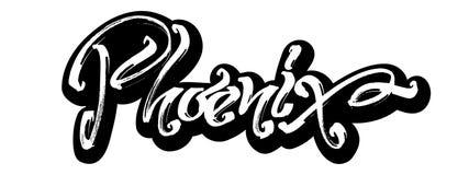 phoenix sticker Letras modernas de la mano de la caligrafía para la impresión de la serigrafía foto de archivo libre de regalías