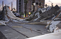 Phoenix Storm Blows The Lid Off. 100 mph winds tore a huge portion of roof from a new multi story apartment building in Phoenix, Arizona. This section of roof Stock Images