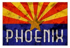 Phoenix Street Sign Grung Arizona Flag. Rustic vintage antique metal embossed royalty free illustration