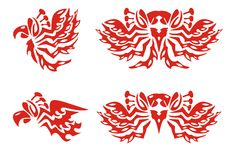 Phoenix symbols. Red on the white Stock Photo