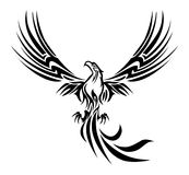 Phoenix tattoo. Illustrations of a concept myth bird phoenix rising from the ashes tattoo on isolated white background Royalty Free Stock Image