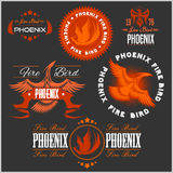 Phoenix - vector set of fire birds and flames logo. Royalty Free Stock Images