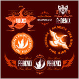 Phoenix - vector set of fire birds and flames logo. Stock Photography