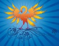 Phoenix-Vogel auf dekorativem Zweig Lizenzfreie Stockfotografie