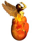 Phoenix Woman Reborn from the Flames. Beautiful woman as the Phoenix reborn from a fiery egg, 3d digitally rendered illustration Royalty Free Stock Image