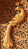 Phoenix, wood carving Royalty Free Stock Photography