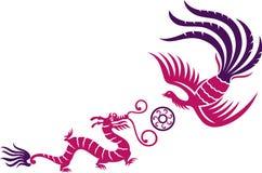 Phoenix y dragón Imágenes de archivo libres de regalías