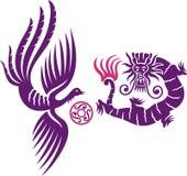 Phoenix y dragón Fotografía de archivo
