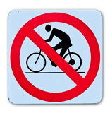 Phohibition bicycle warning sign. On white background vector illustration