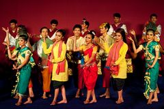 Khmer folk dancers, Cambodia Royalty Free Stock Photo