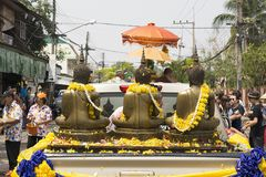 Songkran festival Or Thai New Year. Phon Phisai District Nongkhai Province, Thailand April / 13/2018 Buddhist temples in the Buddhist sermon parade around the royalty free stock photos