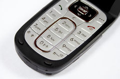 Phone 04. Black cell phone on white background with photo camera and grey buttons stock photos