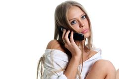Phone. Nice caucasian girl with mobile phone Stock Image