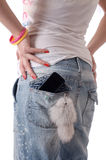 Phone. Mobile phone in jeans pocket Stock Image