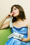 On the phone. Stock Images
