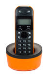 Phone. Orange radio phone, with a black dial Stock Photography