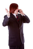 Phone. Young man on the phone with a cell phone royalty free stock photo