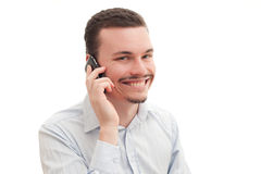 On the phone. Caucasian male talking on the phone Stock Photography
