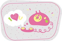 Phone. Pink telephone on the day valentine vector illustration