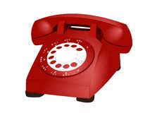 Phone. Illustration of a red retro rotary telephone Stock Illustration
