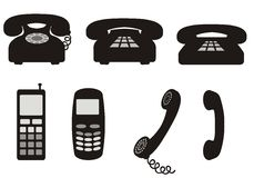 Phone. Black-and-white or grayscale phone symbols Royalty Free Stock Images