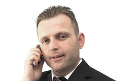 On the phone. Young businessman on the phone Stock Photography