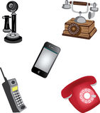 Phone. A five type different era phone design Stock Photo