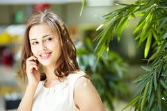 By the phone Stock Photography