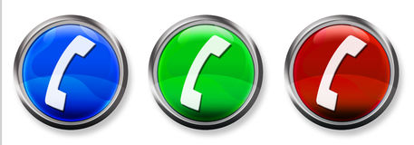 Phone 3-D RGB Button. Blue, Green and Red 3-D circle web buttons with steel border Stock Photography
