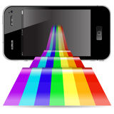 Phone with abstract rainbow Royalty Free Stock Photos