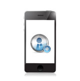 Phone. Add a Friend icon illustration design. Over a white background Royalty Free Stock Image