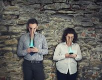 Phone addiction concept royalty free stock image