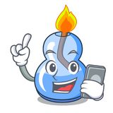 With phone alcohol burner character cartoon. Vector illustration vector illustration