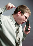 Phone Anger Royalty Free Stock Photography