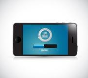 Phone, app updates loading bar illustration design Stock Image
