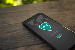 Phone app vpn creation Internet protocols for protection private network royalty free stock images