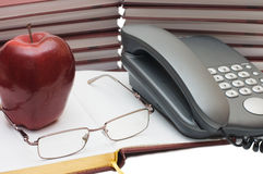 Free Phone, Apple And Glasses On The Book Stock Photography - 13002142
